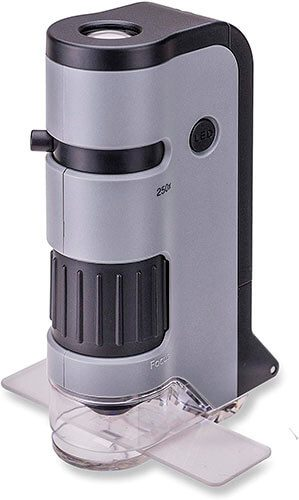 Carson MicroFlip MP-250 100x-250x LED and UV Lighted Pocket Microscope